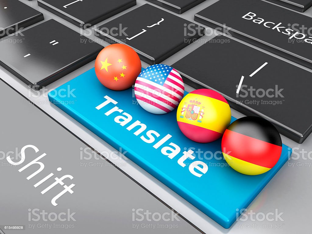 3d Translate foreign languages on computer keyboard stock photo