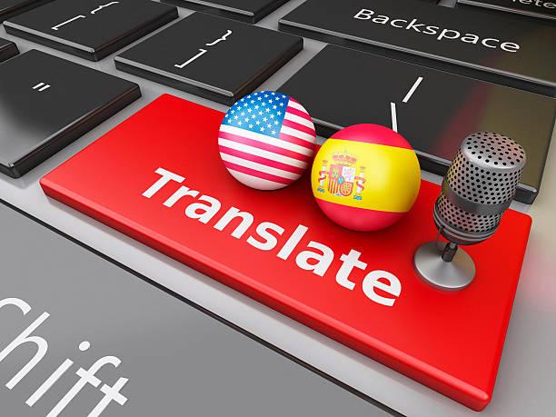 3d translate spanish and english on computer keyboard. - spanisch translator stock-fotos und bilder