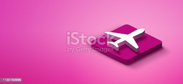 istock 3d travel icon on pink abstract background 1155190999