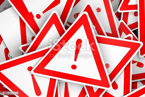 istock 3d triange board with exclamation mark 912836298