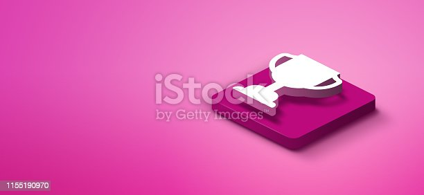 3d trophy award icon on pink abstract background