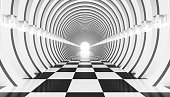 3d abstraction of an architectural tunnel