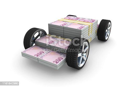 3d Turkish Liras on wheels