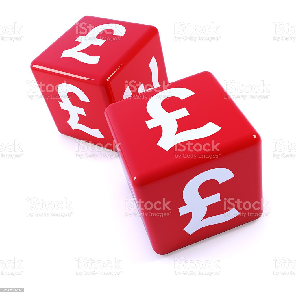 3d Two Red Uk Pounds Sterling Symbol Dice Stock Photo More