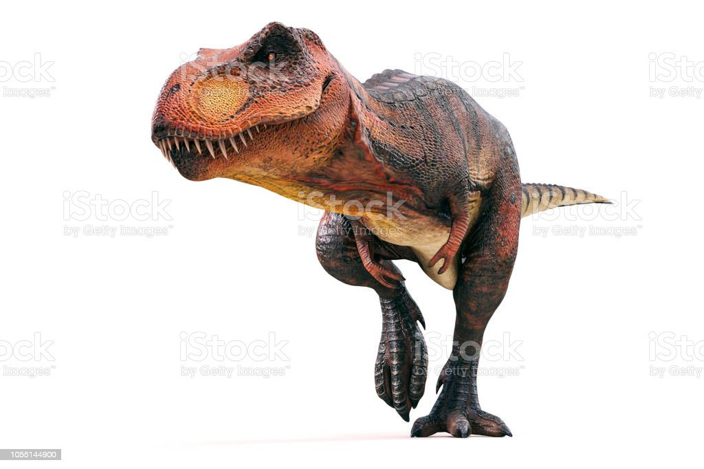 3d Tyrannosaurus rex render on white background stock photo