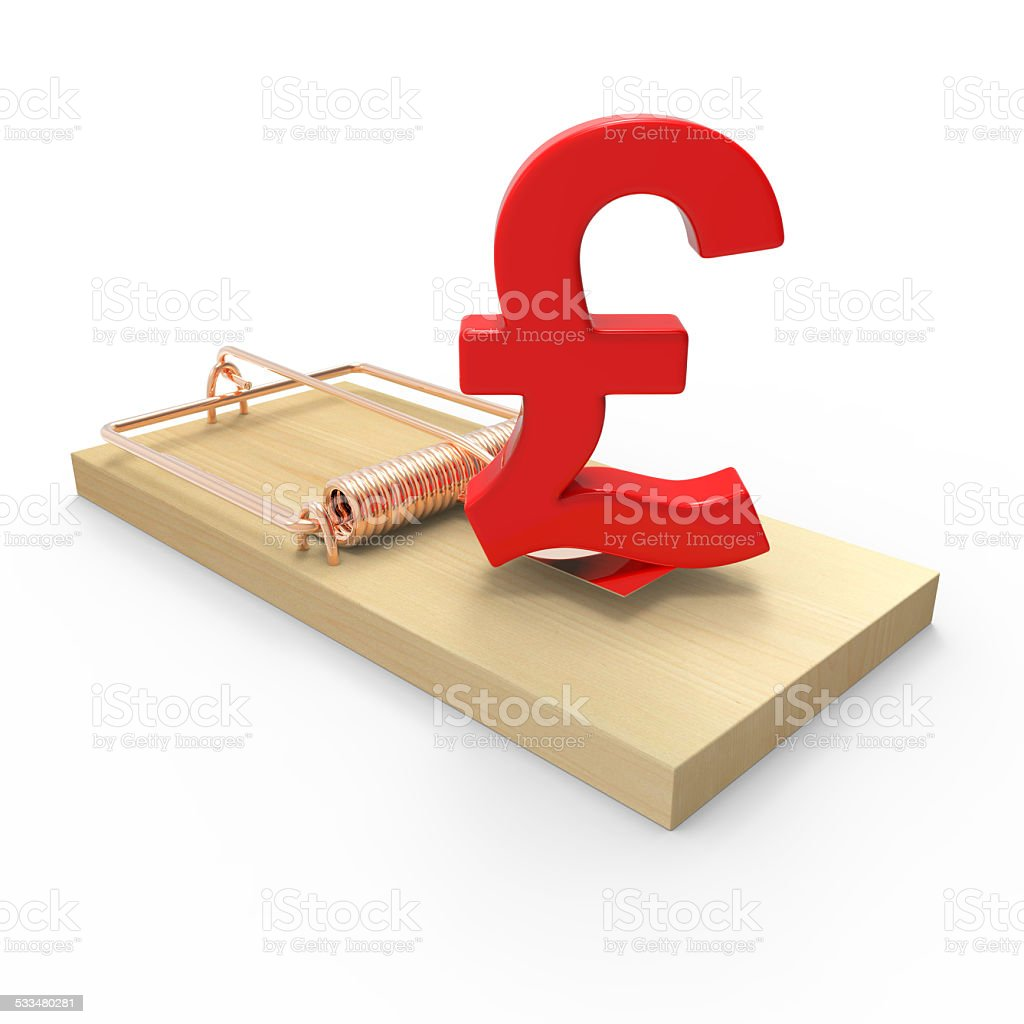 3d Uk Pounds Sterling Currency Symbol On Mousetrap Stock Photo