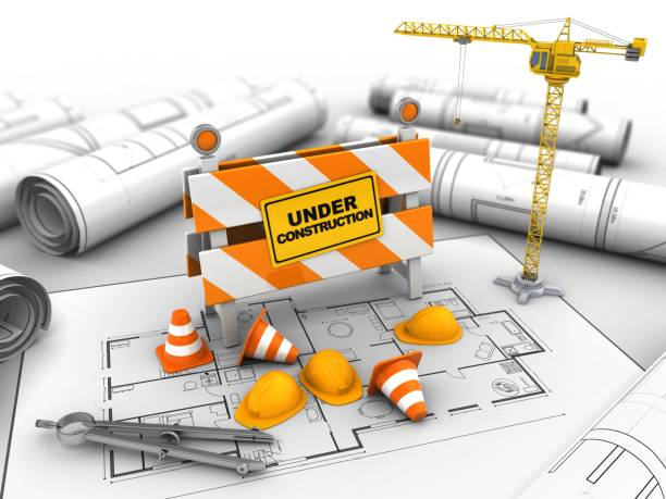 3d under construction stand - foto stock