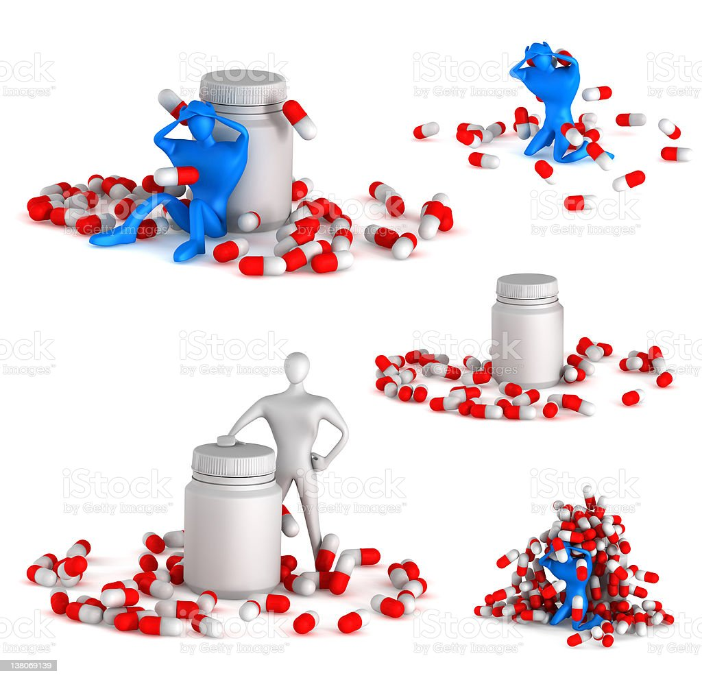 3d unhealthy man with spills and bottle royalty-free stock photo