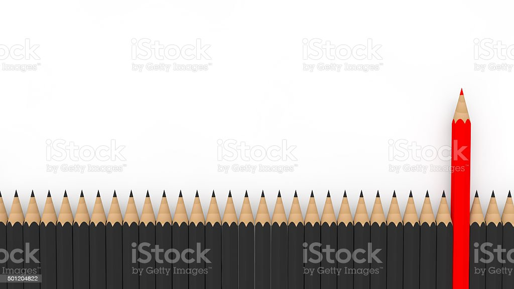 3d unique red pencil among many stock photo