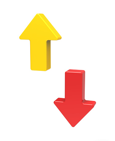 1023882582 istock photo 3d up and down arrows 466206196