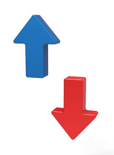 3 d flechas arriba y abajo - arrows fotografías e imágenes de stock