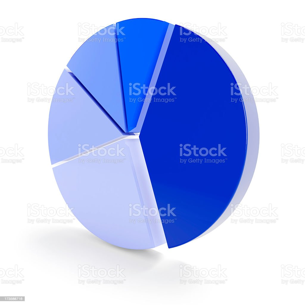 3d Vertical pie chart isolated on white royalty-free stock photo