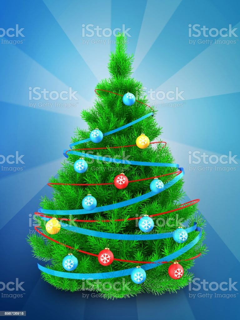 3d Vibrant Christmas Tree Over Blue Stock Vector Art & More Images ...