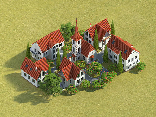 3d village - advertising isometric stock pictures, royalty-free photos & images