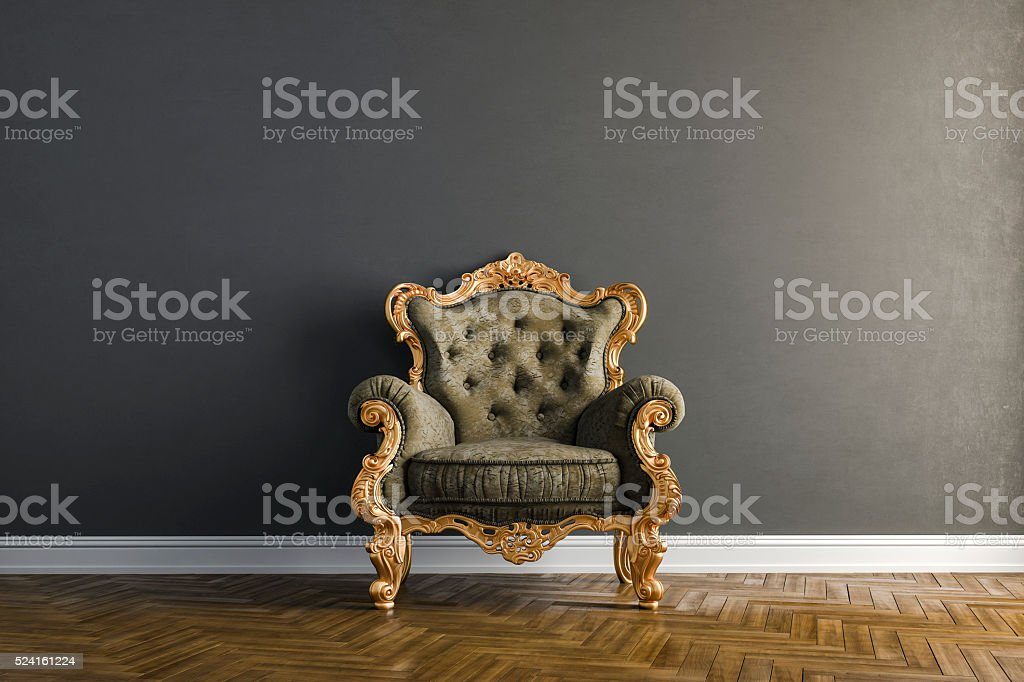 3d vintage arm chair interior render stock photo