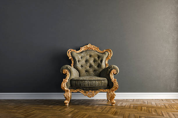 3d vintage arm chair interior render - antique stock pictures, royalty-free photos & images