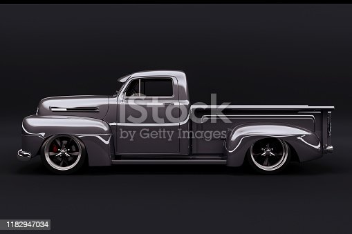 837409978istockphoto 3d vintage beautiful pick-up truck car 1182947034