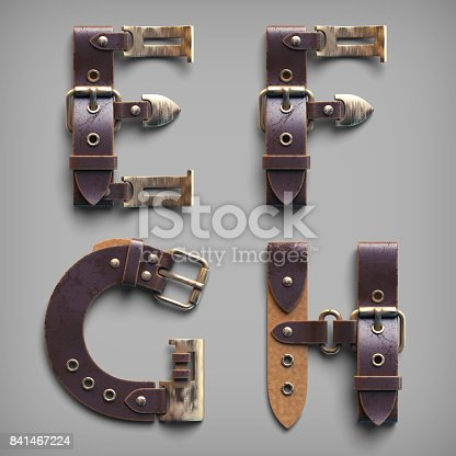 istock 3d vintage steam-punk alphabet set made of old leather belts with brass buckles. 841467224