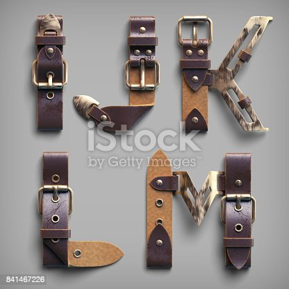 istock 3d vintage steam-punk alphabet set made of old leather belts with brass buckles. 841467226
