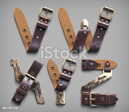 istock 3d vintage steam-punk alphabet set made of old leather belts with brass buckles. 841467232