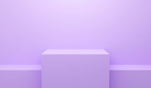 3d violet abstract geometric background. Bright pastel podium or pedestal backdrop. Blank minimal design. Stage for awards ceremony on website in modern. Empty 3D purple pedestal winner. 3D render. stock photo