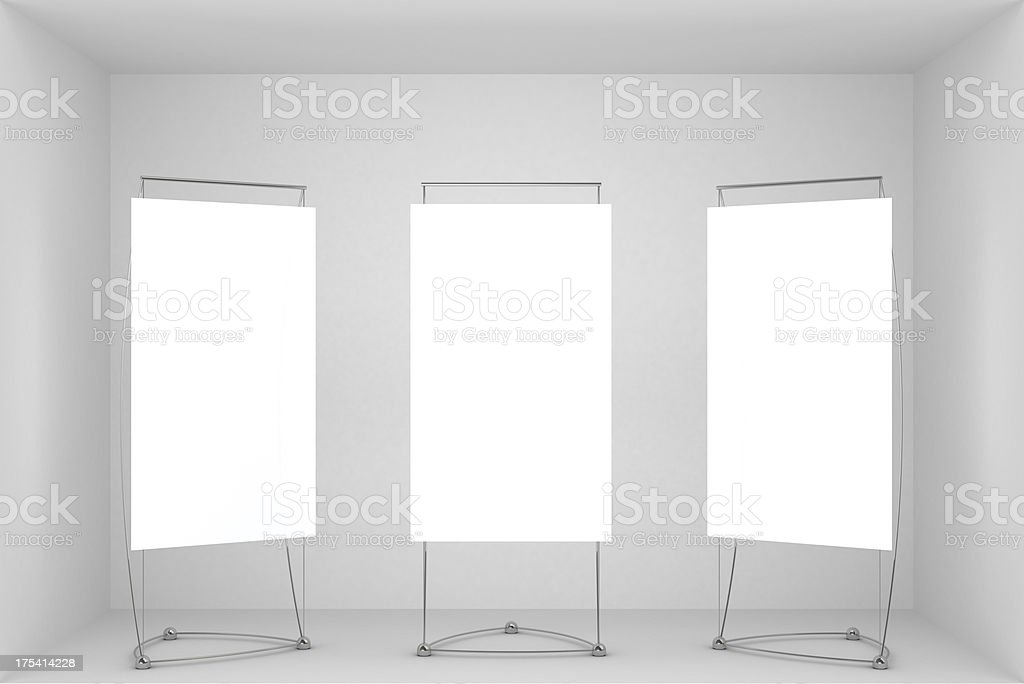 3d vitrine with 3 blank stands stock photo