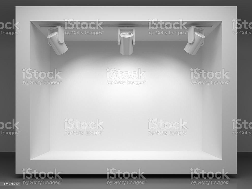 3d vitrine  with spotlights stock photo