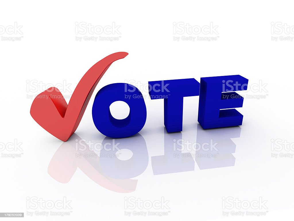 3d Vote text with check mark royalty-free stock photo