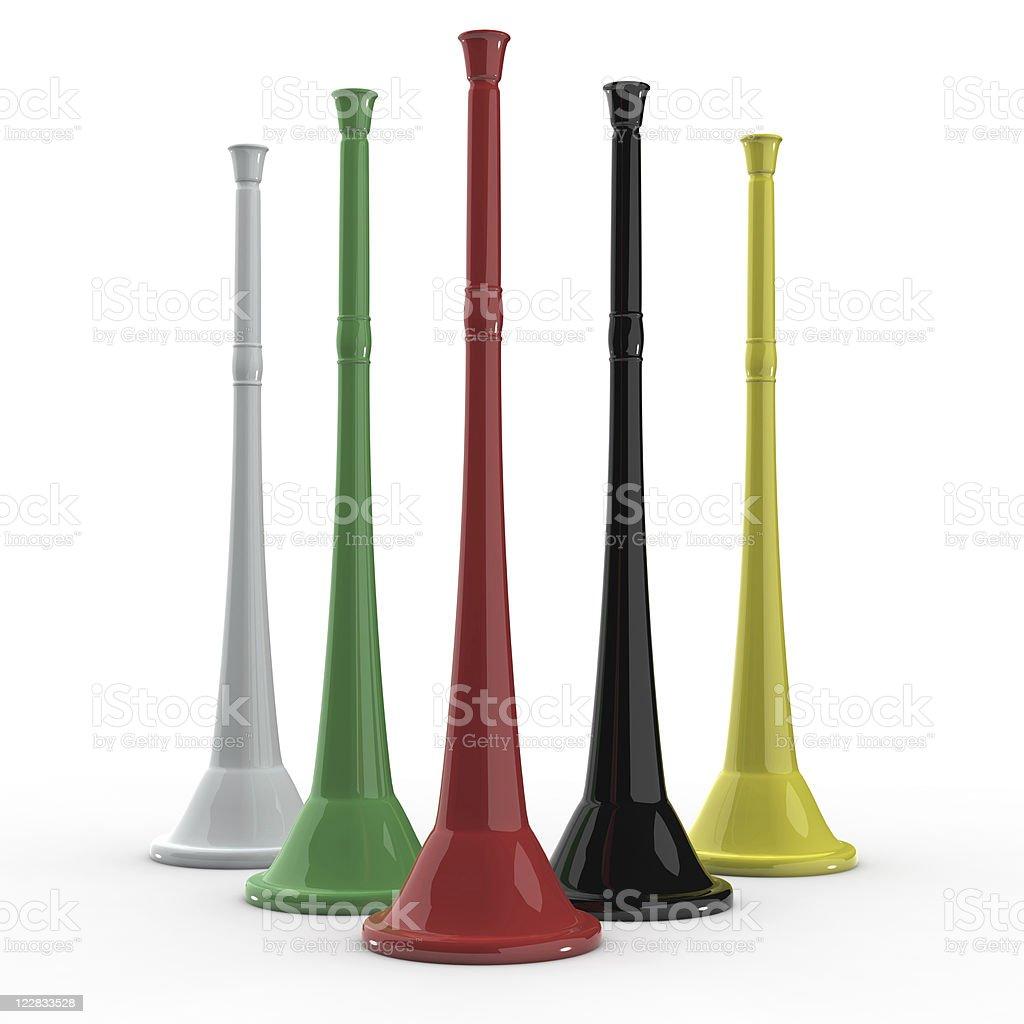 3d vuvuzela horns stock photo