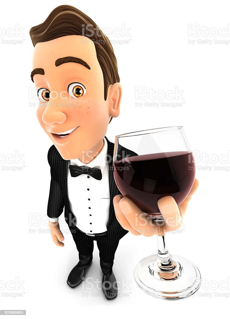 3d waiter holding glass of red wine foto royalty-free