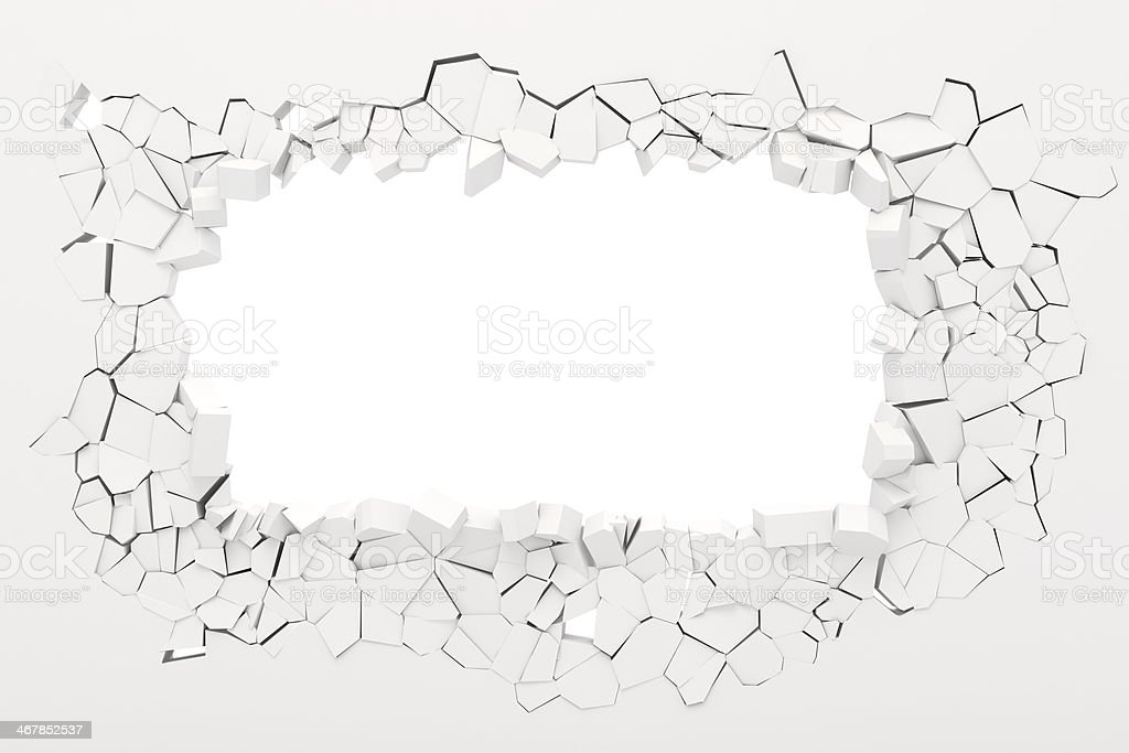 3d wall destruction stock photo