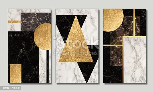 istock 3d wallpaper for wall frames. resin geode and abstract art, functional art, like watercolor geode painting. golden, black and white marble background. Golden lines 1334679026