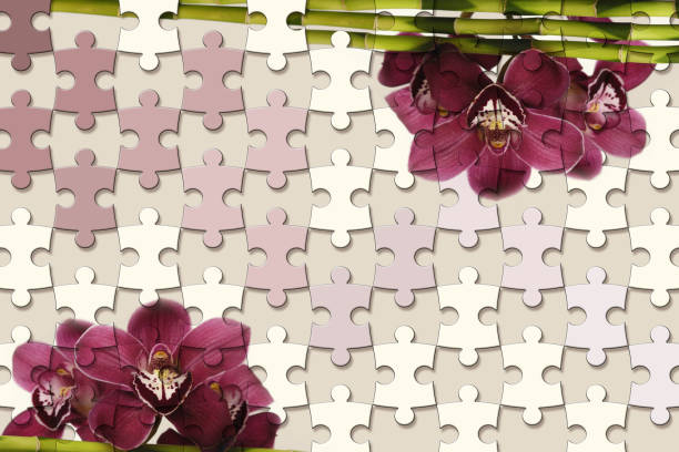 3d wallpaper, jigsaw puzzle pieces and orchids on mauve pastel color background stock photo