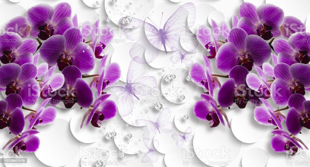 foto de Photo libre de droit de 3d Fond Décran Des Orchidées Et Des ...