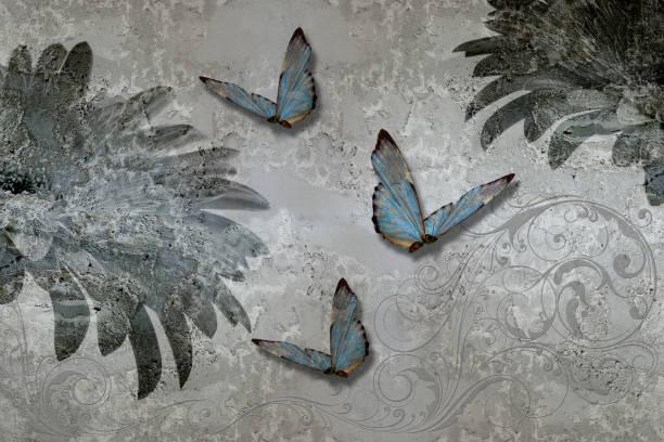 3d wallpaper texture gerbera daisy and butterflies on concrete wall picture id1155470475?b=1&k=6&m=1155470475&s=612x612&w=0&h=2m1xw7 ciz nkogzpoax2twfqteqr f7vxr1iazqxso=