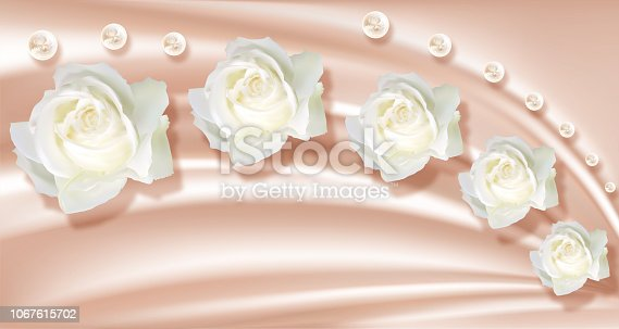 3d wallpaper white roses and pearls on silk background picture