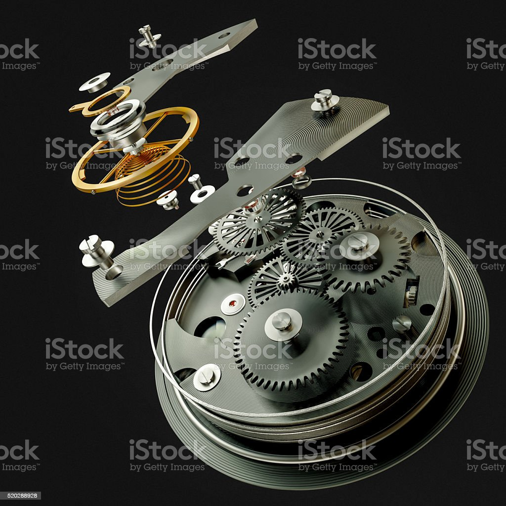 3d watch mechanism on black background. High resolution stock photo