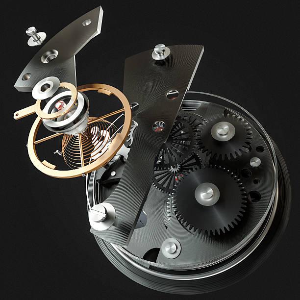 3 d Uhr Mechanismus auf schwarzem Hintergrund. Hohe Auflösung – Foto