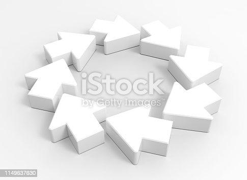 118386322istockphoto 3d White arrows 1149637630