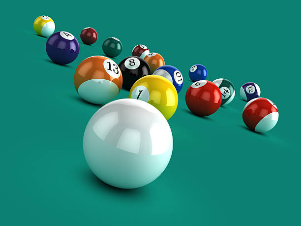 3d white ball breaks in game of pool - cue ball stock pictures, royalty-free photos & images