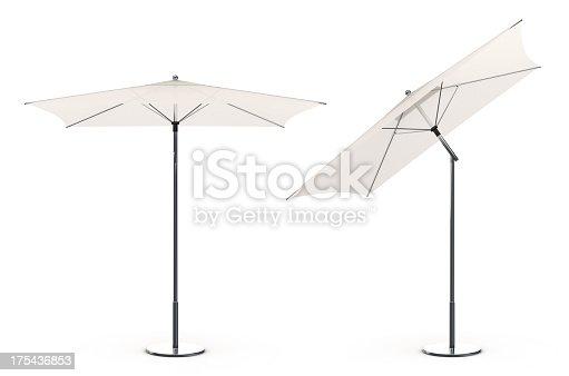 3d White beach umbrella isolated on white