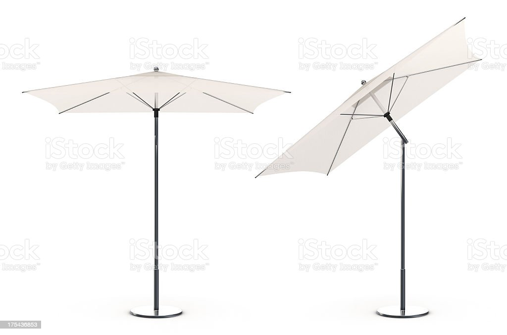 3d White beach umbrella stock photo