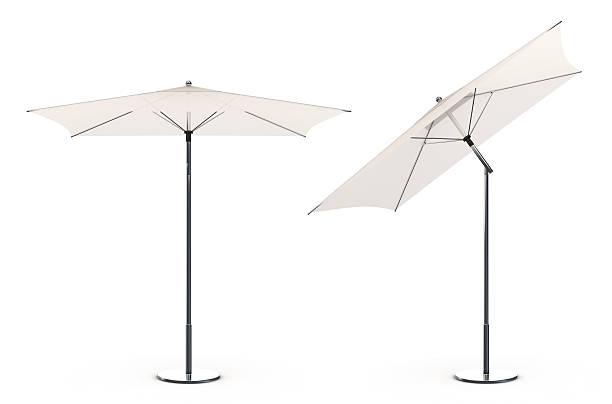 3 d weißen sonnenschirm am strand - outdoor sonnenschutz stock-fotos und bilder