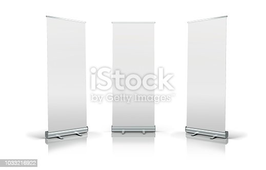 istock 3d white blank roll-up banners 1033216922