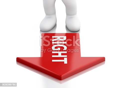 istock 3d White business people and red arrow. Success concept 505099780