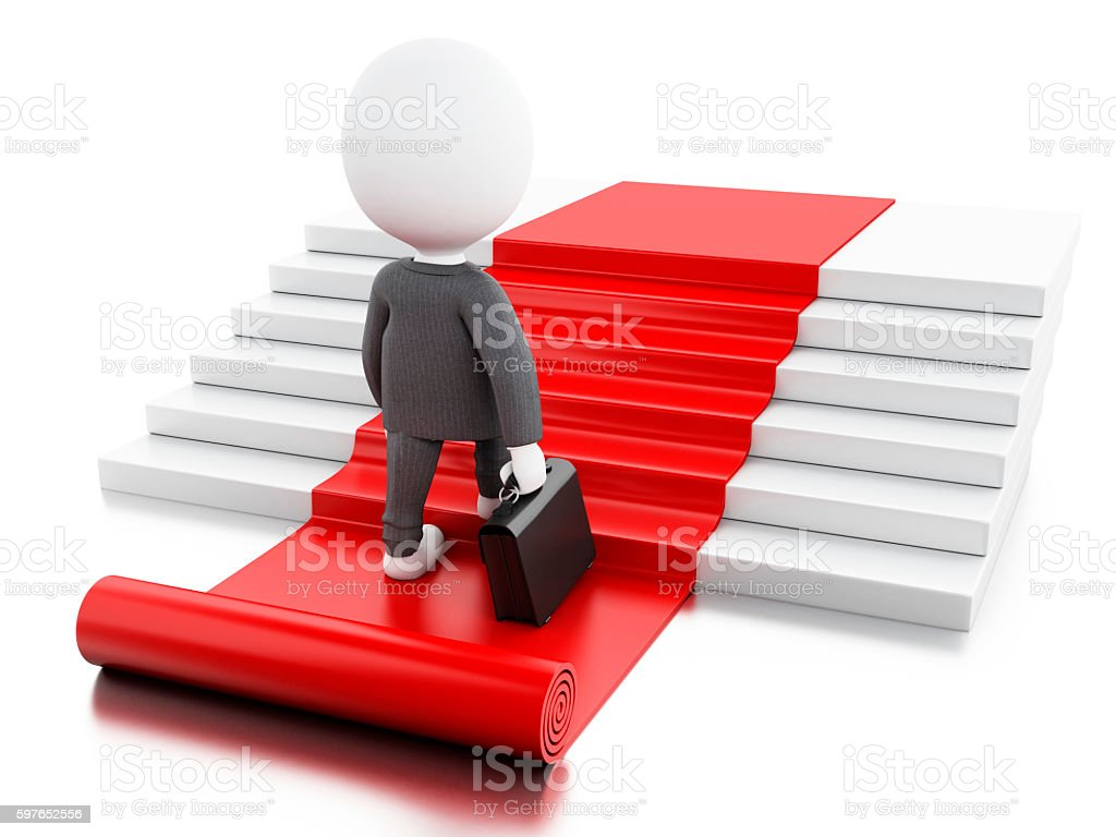 3d White business people with briefcase. stock photo