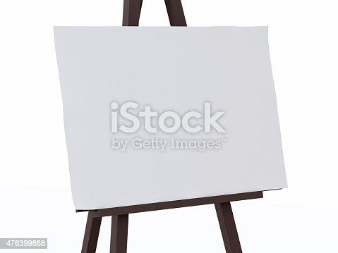 istock 3d white canvas on an easel. 476399888