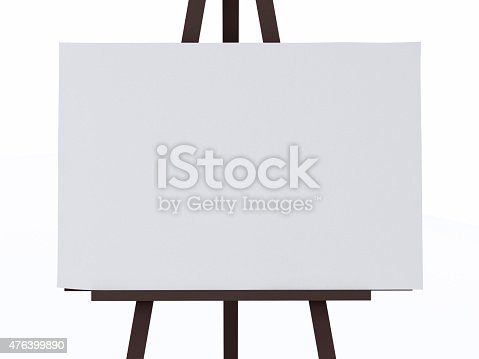 istock 3d white canvas on an easel. 476399890