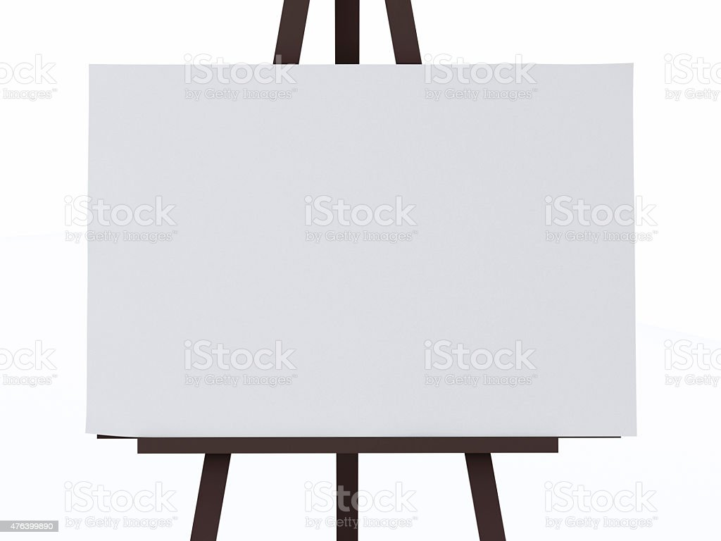 3d white canvas on an easel. stock photo