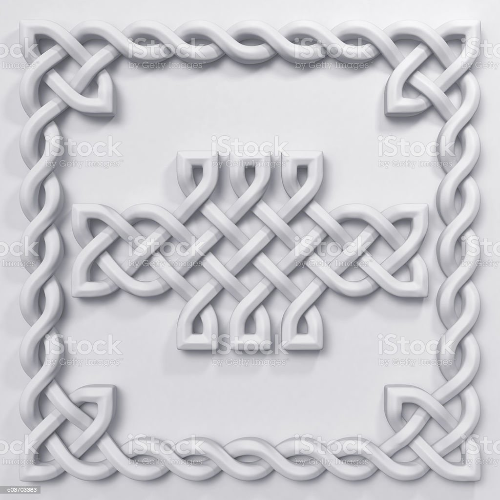 3d white Celtic pattern design element stock photo